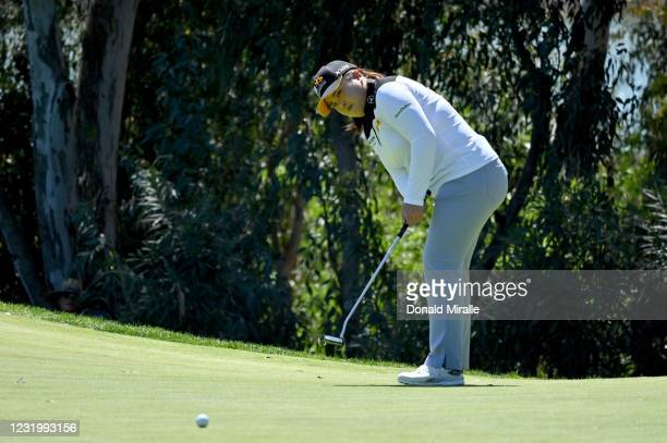 Inbee Park of South Korea putts on the 1st green during the Final Round of the KIA Classic at the Aviara Golf Club on March 28, 2021 in Carlsbad,...