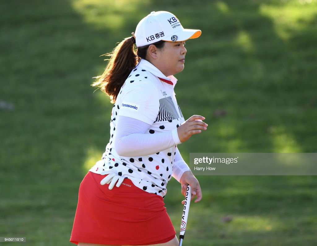 Inbee Park of South Korea reacts to her par on the 17th green during the first round of the LPGA LOTTE Championship at the Ko Olina Golf Club on April 11, 2018 in Kapolei, Hawaii.