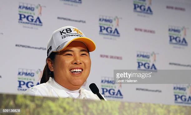 Inbee Park of South Korea speaks with the media after she gained entry in the LPGA Hall of Fame after finishing the first round of the KPMG Women's...