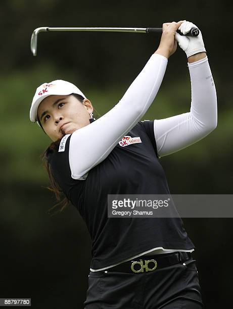 Inbee Park of South Korea watches her tee shot on the sixth hole during the first round of the Jamie Farr Owens Corning Classic at Highland Meadows...