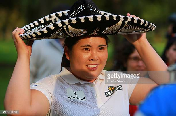 Inbee Park of South Korea with a mariachi hat after the final round of Lorena Ochoa Invitational 2015 at the Club de Golf Mexico on November 15 2015...
