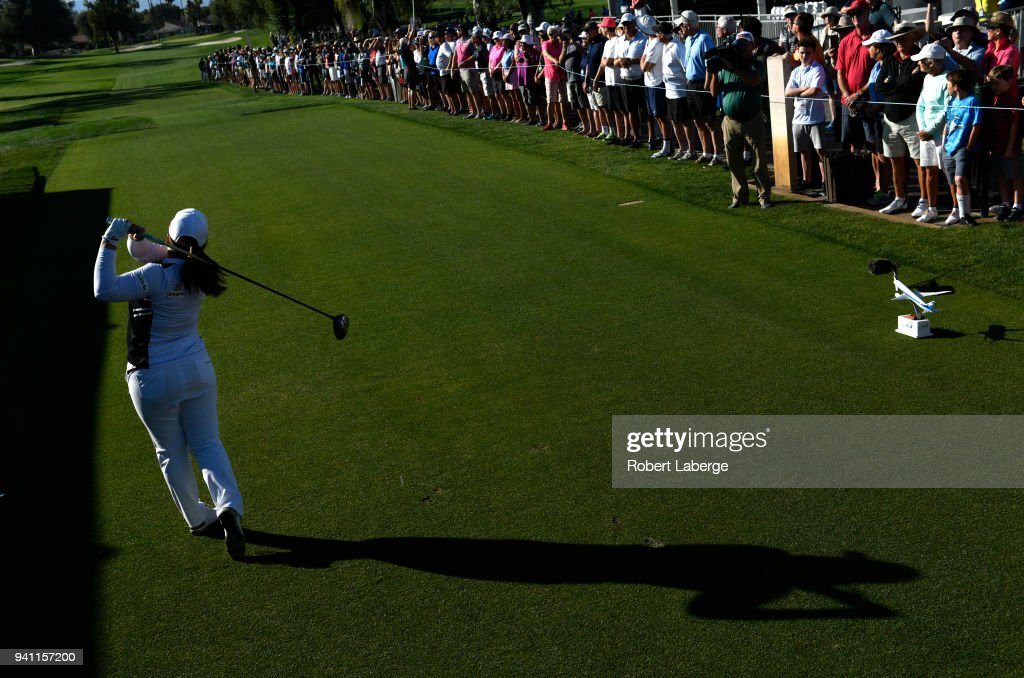 Inber Park of South Korea makes a tee shot on the 10th tee box and eighth sudden death hole during the final round of the ANA Inspiration on the Dinah Shore Tournament Course at Mission Hills Country Club on April 2, 2018 in Rancho Mirage, California.
