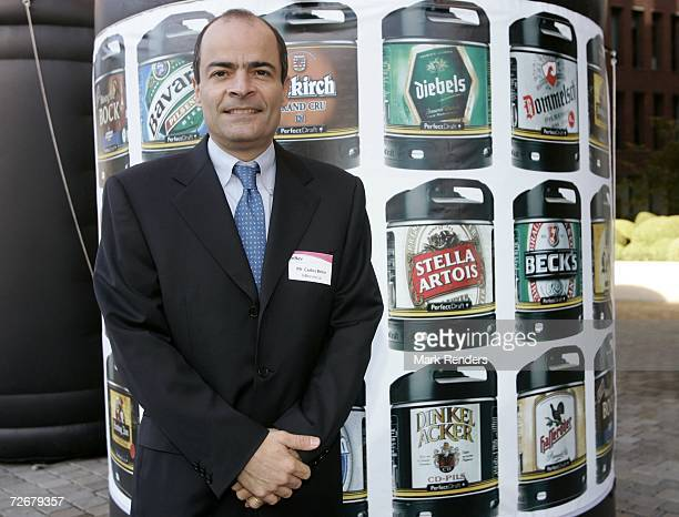 Inbev CEO Carlos Brito drinking at the Inbev Brewery on November 30 2006 in Leuven Belgium