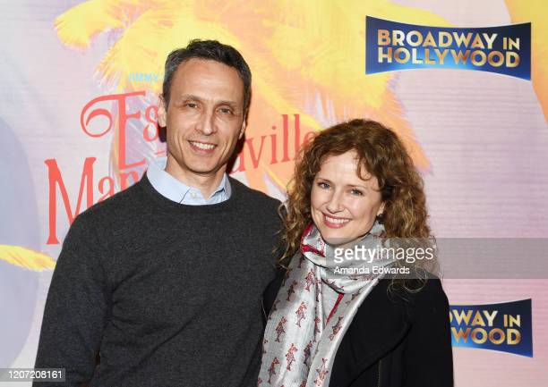 Inc President James Pitaro and actress Jean Louisa Kelly arrive at Jimmy Buffett's Escape To Margaritaville LA Premiere Engagement at the Dolby...