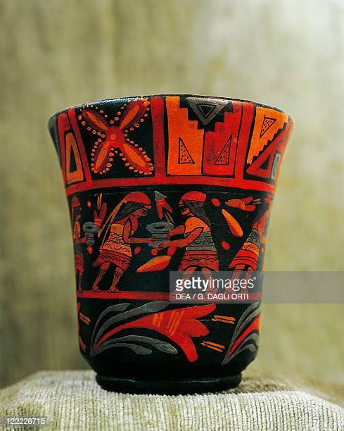Inca civilization Peru 15th century Handpainted wooden vase