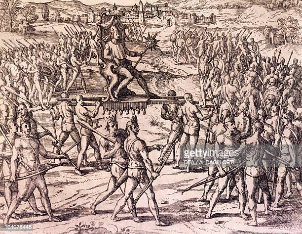 Inca Emperor Atahualpa defeated by Francisco Pizarro's Spanish troops Peru engraving from American History by Theodore de Bry Frankfurt 1602 South...