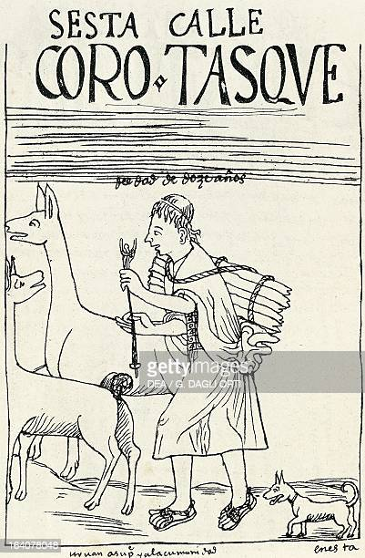 Inca farmer with a llama Peru engraving from The first new chronicle and good government by Felipe Guaman Poma de Ayala South America 16th century...