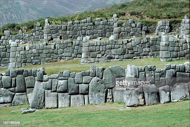 Inca fortress at Sacsahuaman, View of the three levels of walling. Peru. Inca. Sacsahuaman.