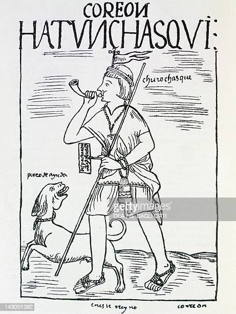 Inca messenger playing the horn Engraving from New Chronicle and Good Government by Felipe Guaman Poma de Ayala 1587 manuscript Lima Museo Nacional...