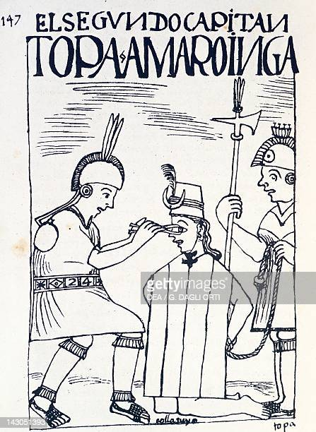 Inca punishment a soldier removing a noble's eye Engraving from New Chronicle and Good Government by Felipe Guaman Poma de Ayala 1587 manuscript Lima...