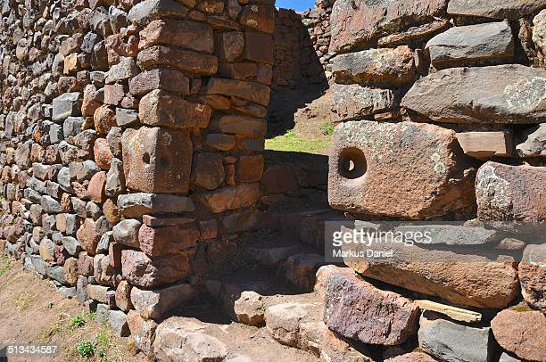 "inca ruins and door structure in pisac, peru - ""markus daniel"" stock pictures, royalty-free photos & images"