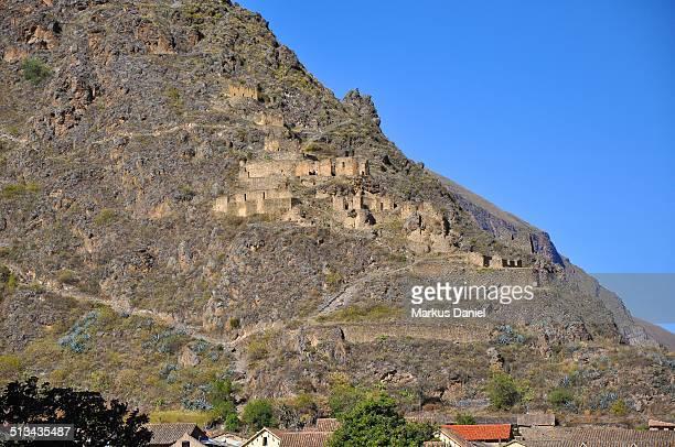 Inca Ruins at Pinkuylluna mountain, Ollantaytambo