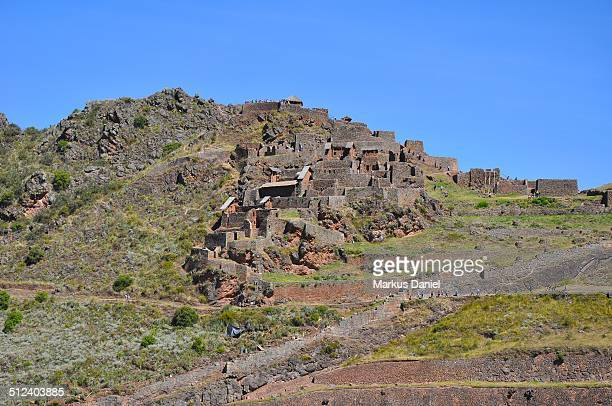 """inca ruins on mountainside in pisac, peru - """"markus daniel"""" stock pictures, royalty-free photos & images"""