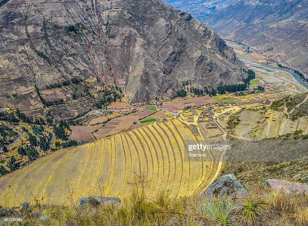 Inca terraces in the Sacred Valley - Pisac, Peru : Stock-Foto