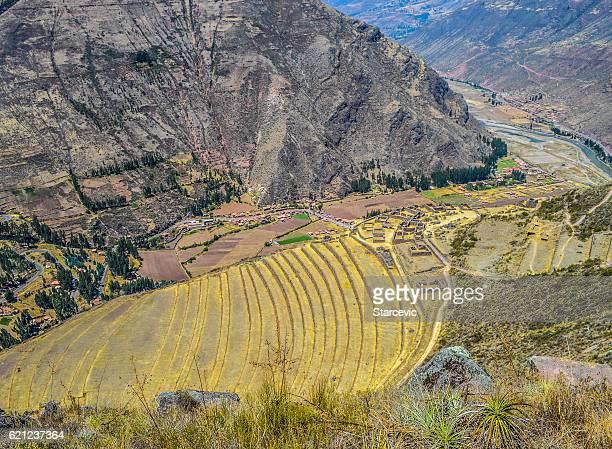 Inca terraces in the Sacred Valley - Pisac, Peru