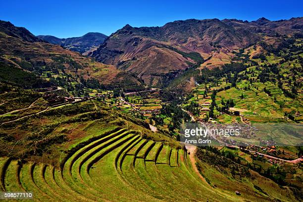 Inca terraces of Pisac on clear spring afternoon, Sacred Valley, Peru