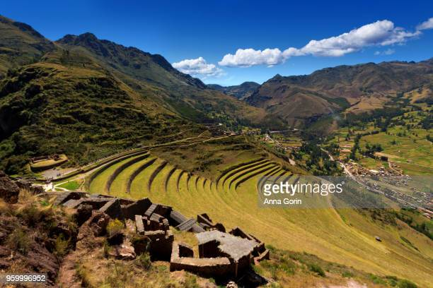 Inca terraces of Pisac on partly cloudy spring afternoon, Sacred Valley, Peru