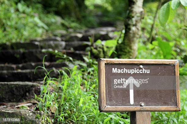 Inca Trail Sign in Tropical Forest, Machu Picchu, peru