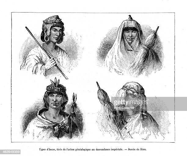 Inca types Peru 19th century Portraits of Incas from the genealogical tree or of imperial descent