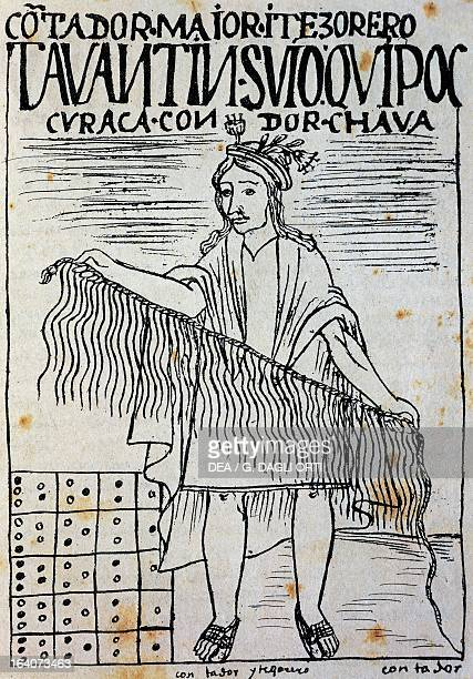 Inca with a quipu engraving from The first new chronicle and good government by Felipe Guaman Poma de Ayala South America 16th century