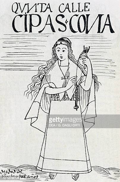 Inca woman spinning Peru engraving from The first new chronicle and good government by Felipe Guaman Poma de Ayala South America 16th century Lima...