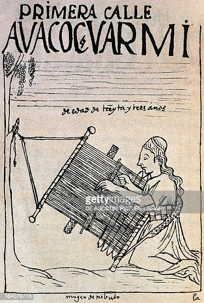 Inca woman weaving llamas' wool Peru engraving from The first new chronicle and good government by Felipe Guaman Poma de Ayala South America 16th...