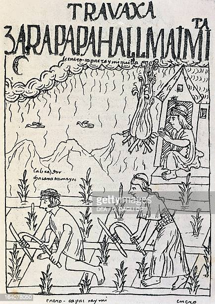 Inca working in the fields in January planting corn Peru engraving from The first new chronicle and good government by Felipe Guaman Poma de Ayala...