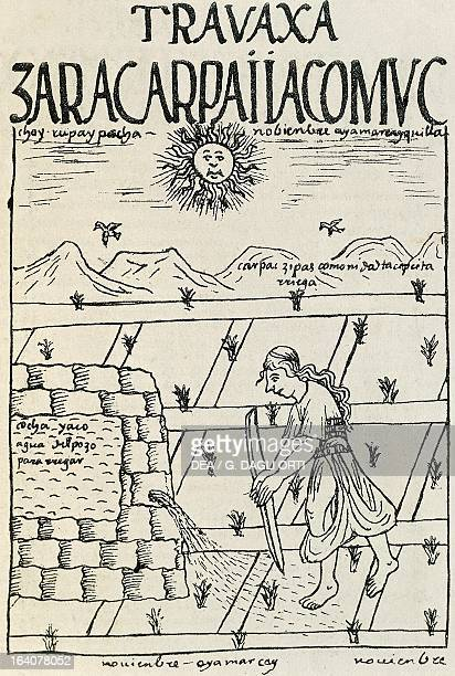Inca working in the fields in November doing irrigation Peru engraving from The first new chronicle and good government by Felipe Guaman Poma de...