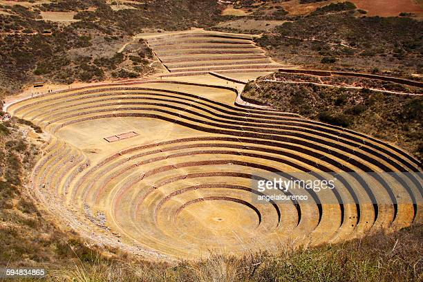 incan ruins, moray, cusco, peru - amphitheatre stock photos and pictures
