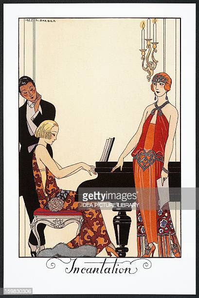 Incantation, pianist and lady dressed in evening gowns, by Georges Barbier , illustration taken from Falbalas et Fanfreluches, Almanac of 1923....