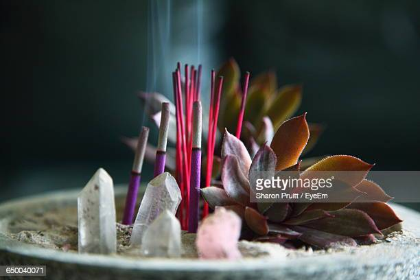 Incense And Crystals At Temple