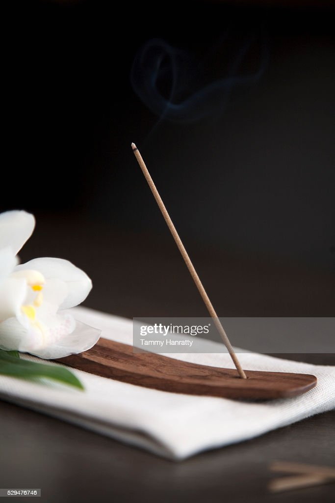 Incense and flower : Stock Photo