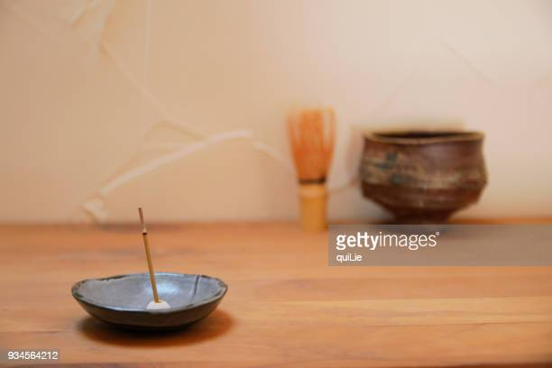 incense and tea - incense stock photos and pictures