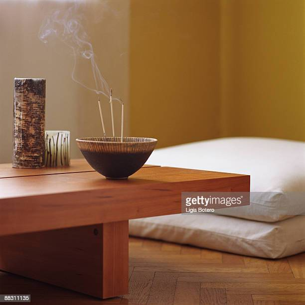 incense bowl on table - burning mattress stock pictures, royalty-free photos & images