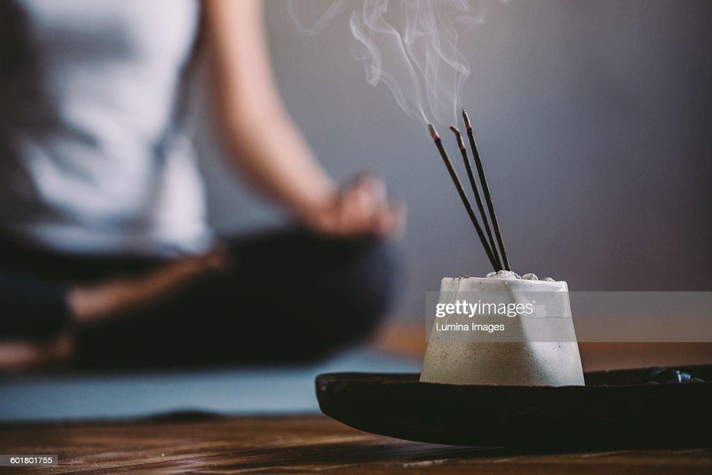 Incense burning in yoga studio : Stock Photo