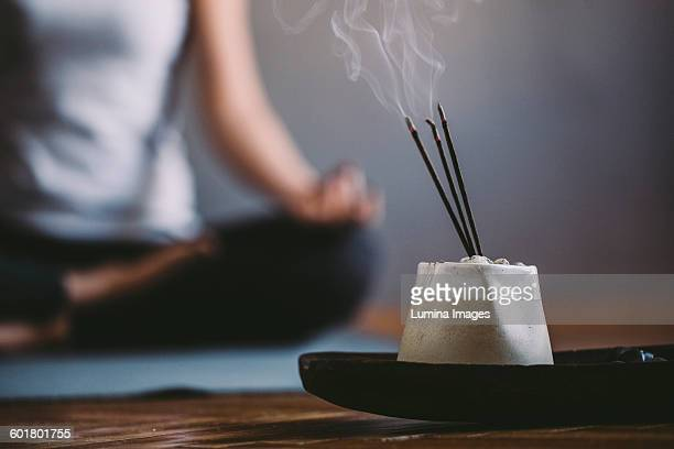 Incense burning in yoga studio