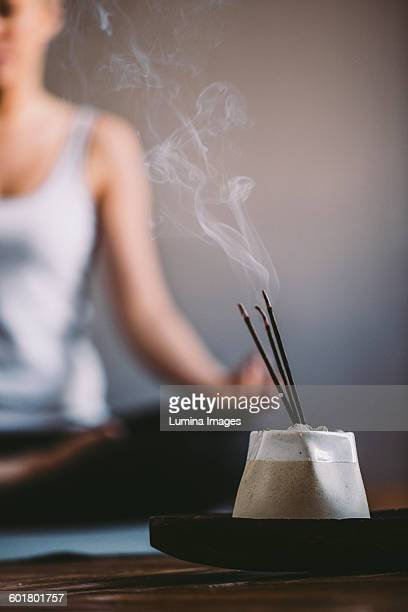 incense burning in yoga studio - incense stock photos and pictures