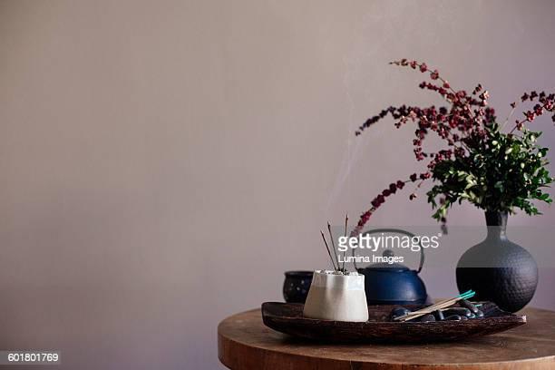 Incense burning on tea tray