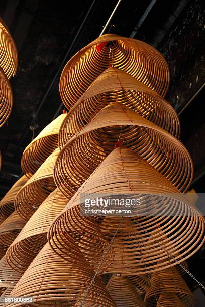 incense coils in a-ma temple, macau, china - incense coils stock pictures, royalty-free photos & images