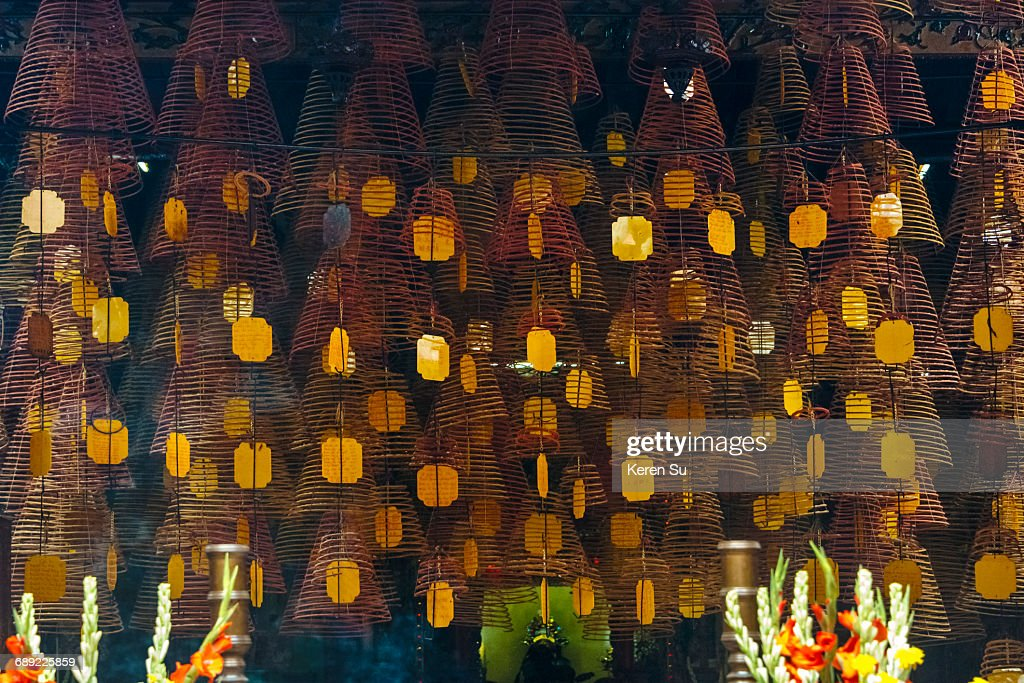 Incense coils in Ong Temple : Stock Photo