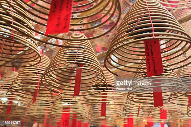 incense coils, man mo temple, hong kong - incense coils stock photos and pictures