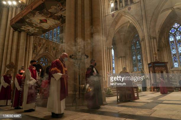 Incense is waved as The Most Reverend Stephen Cottrell is enthroned as the 98th Archbishop of York at a service of Evensong at York Minster on...