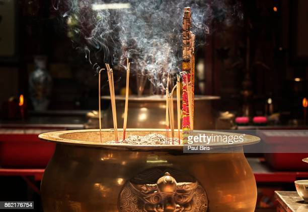 Incense sticks burning at Sin Sze Si Ya Temple (Sze Yah Temple), China Town, Kuala Lumpur, Malaysia, Southeast Asia
