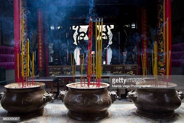 incenses inside thien hau pagoda - thien hau pagoda stock pictures, royalty-free photos & images
