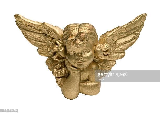 4 inch Cherub angel painted gold