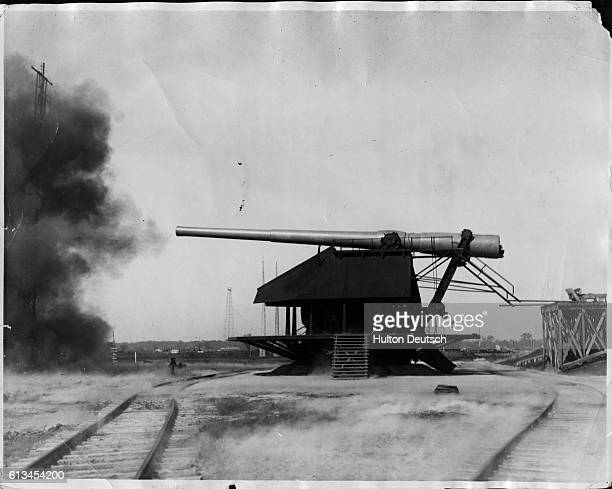A 16 inch gun is fired during The Third Annual Convention of the Army Ordinance Association The event showcases the various new military weapons