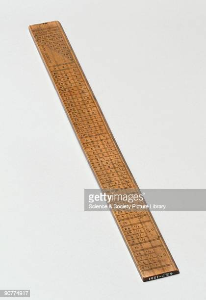 12 inch wooden rule with tables for multiplication and the conversion of British measures and money stamped �Bate London�