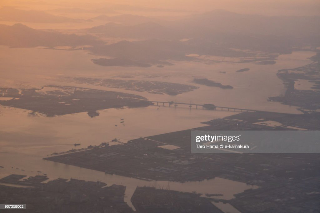 Incheon city in Korea sunset time aerial view from airplane : ストックフォト
