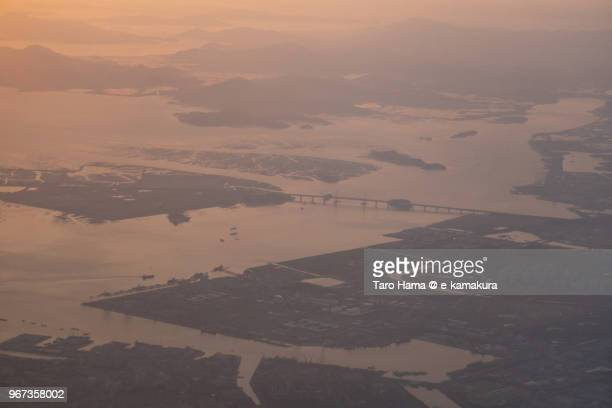 Incheon city in Korea sunset time aerial view from airplane