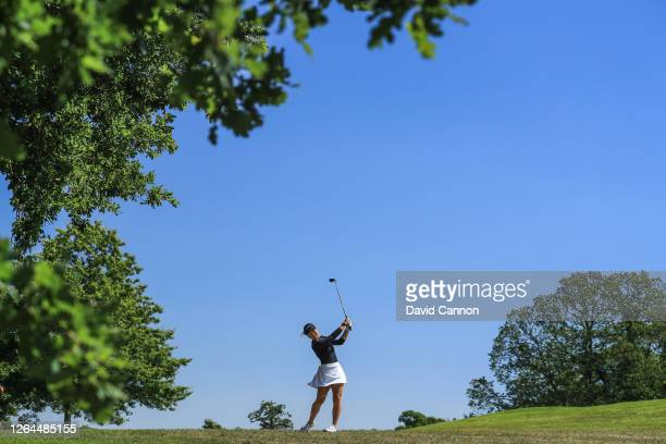 Inci Mehmet of England plays her second shot on the first hole during day three of The Rose Ladies Series on The West Course at Wentworth Golf Club...